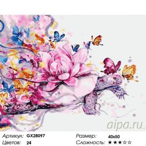 Количество цветов и сложность Черепаха и лотос Раскраска картина по номерам на холсте GX28097