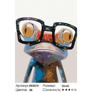 Количество цветов и сложность Стильная лягушка Раскраска картина по номерам на холсте EX5319