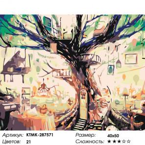 Количество цветов и сложность Домик на дереве Раскраска картина по номерам на холсте KTMK-287571