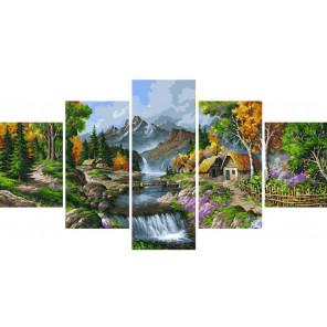 Домики в горах Модульная картина по номерам на холсте с подрамником WX1066