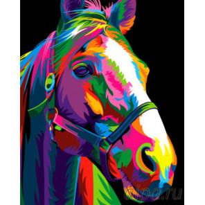Цветная лошадь Раскраска картина по номерам на холсте