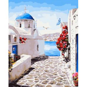 Улочки Греции Раскраска картина по номерам на холсте