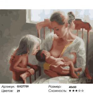 Количество цветов и сложность Материнское счастье Раскраска картина по номерам на холсте GX27759