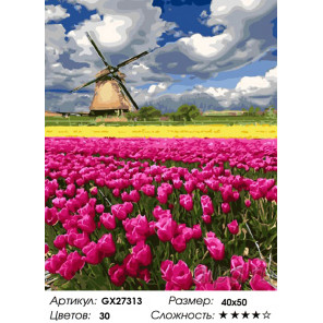 Количество цветов и сложность Цветочное поле Раскраска картина по номерам на холсте GX27313