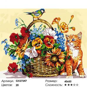Котенок и синичка Раскраска картина по номерам на холсте GX27247