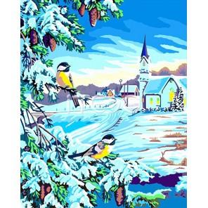 Синички в снегу Раскраска (картина) по номерам акриловыми красками на холсте Iteso