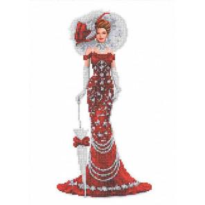 Дама в красном Набор для вышивки бисером Каролинка КБЛН(Ч) 3018