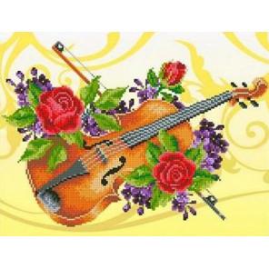 Скрипка Канва с рисунком для вышивки бисером Каролинка ТКБЛ 3018