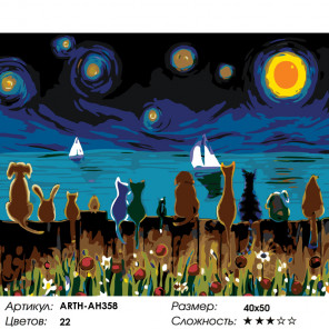 Количество цветов и сложность Любуясь звездным небом Раскраска картина по номерам на холсте ARTH-AH358