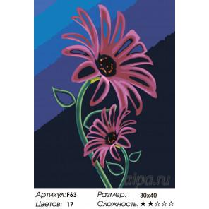 Количество цветов и сложность Неоновые герберы Раскраска картина по номерам на холсте F63