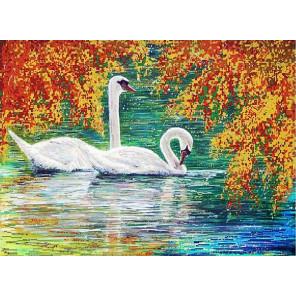 Осенний пруд Канва с рисунком для вышивки бисером Конек 9973