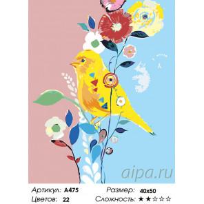 Количество цветов и сложность Канарейка на цветах Раскраска картина по номерам на холсте A475