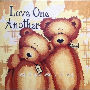 Любите друг друга 40х40 Раскраска по номерам акриловыми красками на холсте Hobbart