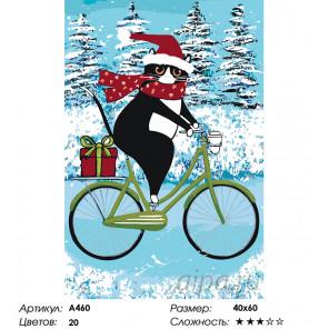 Количество цветов и сложность Кот на велосипеде зимой Раскраска картина по номерам на холсте A460