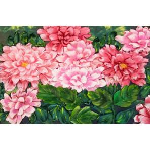 В рамке Розовые хризантемы Набор для вышивки лентами Каролинка КЛ(Н)-4009