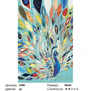 Количество цветов и сложность Павлин в ярких красках Раскраска картина по номерам на холсте A482
