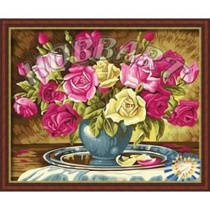 Пышно-розовый букет Раскраска по номерам акриловыми красками на холсте Hobbart