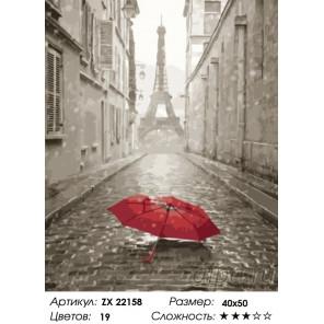 Количество цветов и сложность Зонт на мостовой Парижа Раскраска картина по номерам на холсте ZX 22158