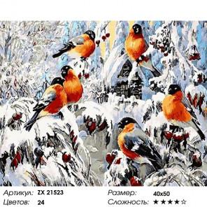 Красногрудые снегири Раскраска картина по номерам на холсте ZX 21523