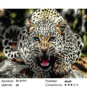 Количество цветов и сложность Злой барс Раскраска картина по номерам на холсте ZX 21711