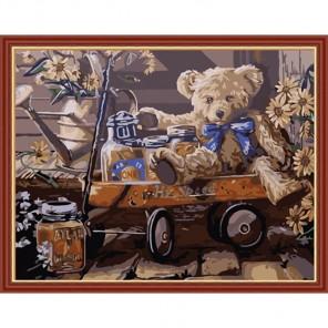 Медвежонок Тедди Раскраска по номерам акриловыми красками на холсте Menglei