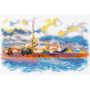 Пример оформления в рамку Петропавловская крепость Набор для вышивания Овен 1017