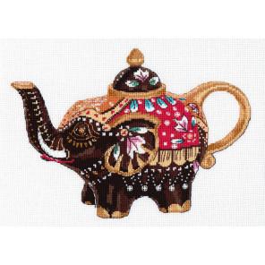 Пример оформления в рамку Чайный слоник Набор для вышивания Овен 1037