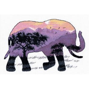Пример оформления в рамку В мире животных. Слон Набор для вышивания Овен 1049