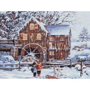 Вышитая работа в рамке Мельница в снегу Набор для вышивания Палитра 07.013