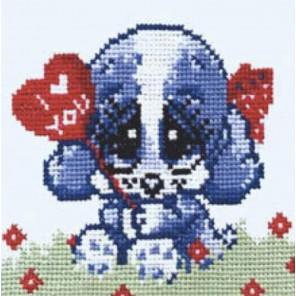 Собачка с сердцем Набор для вышивания Овен 044
