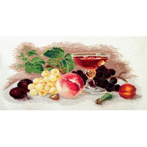 Пример оформления в рамку Натюрморт с персиком Набор для вышивания Овен 447