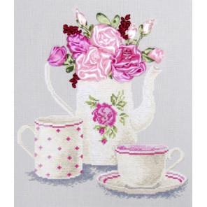 Пример оформления в рамку Чайная фантазия Набор для вышивания Овен 468