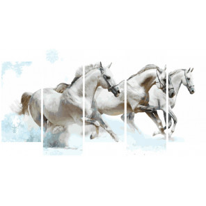 Белые лошади Модульная картина по номерам на холсте с подрамником WX1087