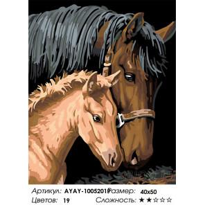 Сложность и количество цветов Лошадь с жеребенком Раскраска картина по номерам на холсте AYAY-10052019