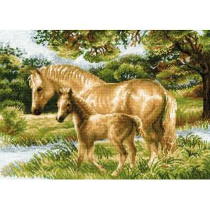 В рамке Лошадь с жеребёнком Набор для вышивания Риолис 1258