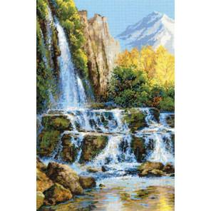 В рамке Пейзаж с водопадом Набор для вышивания Риолис 1194