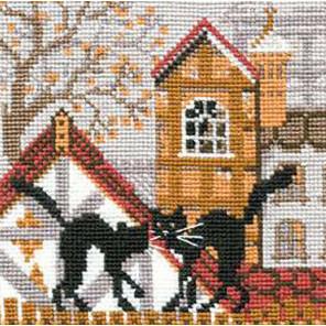 В рамке Город и кошки. Осень Набор для вышивания Риолис 613