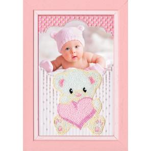 Мишка с сердцем Набор для вышивки фоторамки бисером Золотое Руно ФТ-005