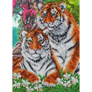 Тигры Набор для частичной вышивки бисером Паутинка Б-1469