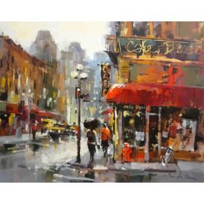 Городское кафе (репродукция Брента Хейтона) Раскраска по номерам акриловыми красками на холсте Живопись по номерам
