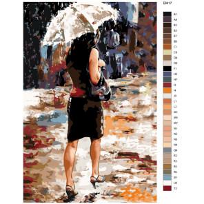 Схема Капли дождя Раскраска по номерам акриловыми красками на холсте Живопись по номерам