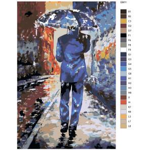 Раскладка Под дождем Раскраска по номерам акриловыми красками на холсте Живопись по номерам