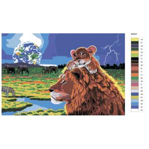 Раскладка Король лев Раскраска по номерам на холсте Живопись по номерам