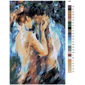раскладка Поцелуй страсти (художник Леонид Афремов) Раскраска по номерам на холсте Живопись по номерам