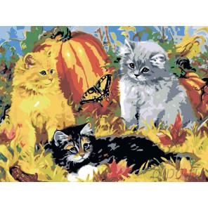 3 Котята и бабочка Раскраска по номерам на холсте Живопись по номерам