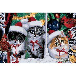 Рождественские котята Раскраска картина по номерам на холсте A113