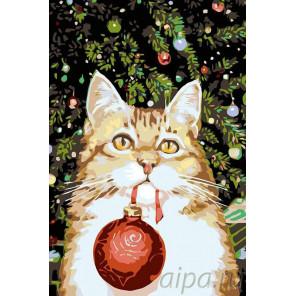 Новогодний котик Раскраска картина по номерам на холсте A175