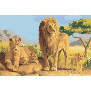 Семейство львов Раскраска картина по номерам на холсте RA030