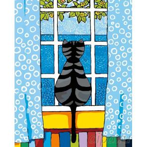 Раскладка Весна за окном Раскраска картина по номерам на холсте A277
