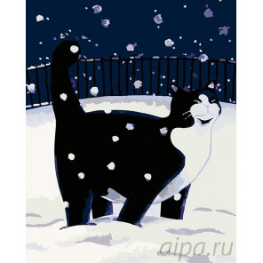 Прогулка по снегу Раскраска картина по номерам на холсте A74